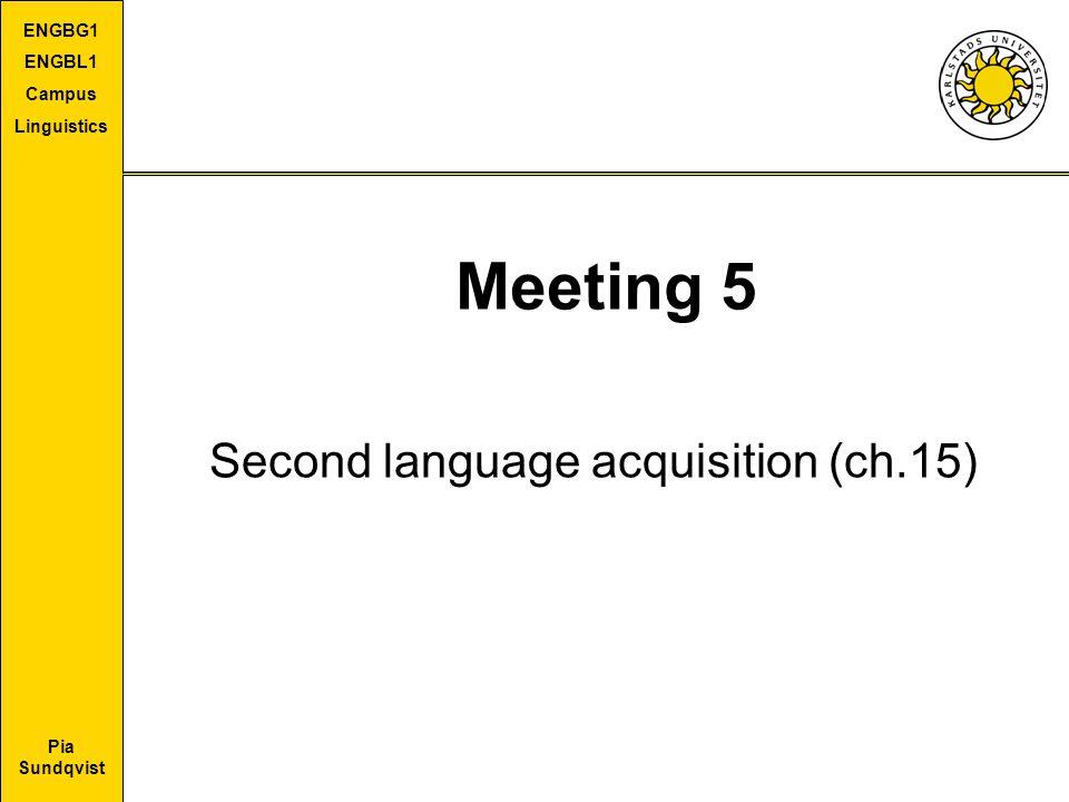Pia Sundqvist ENGBG1 ENGBL1 Campus Linguistics Meeting 5 Second language acquisition (ch.15)