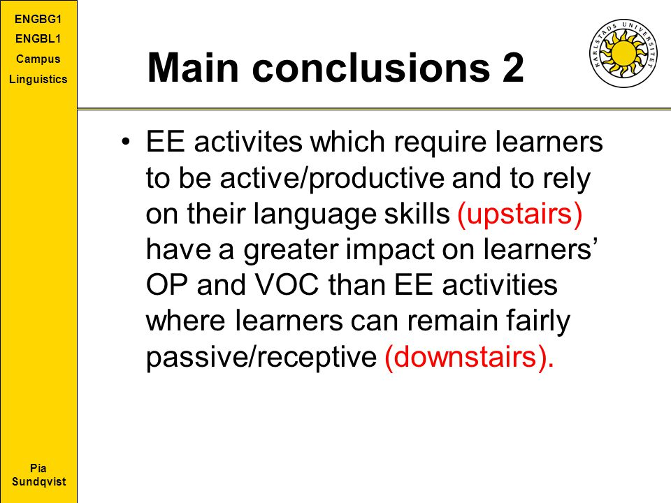 Pia Sundqvist ENGBG1 ENGBL1 Campus Linguistics Main conclusions 2 EE activites which require learners to be active/productive and to rely on their lan