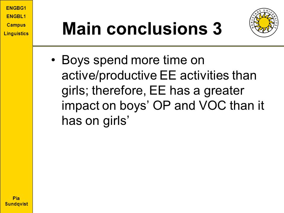 Pia Sundqvist ENGBG1 ENGBL1 Campus Linguistics Main conclusions 3 Boys spend more time on active/productive EE activities than girls; therefore, EE ha