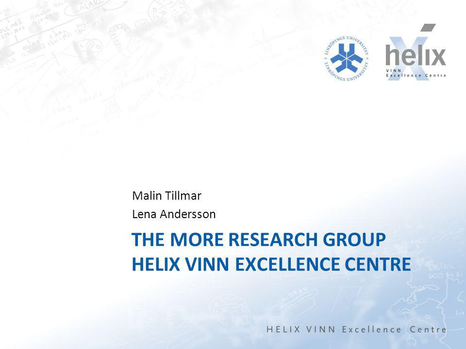 THE MORE RESEARCH GROUP HELIX VINN EXCELLENCE CENTRE Malin Tillmar Lena Andersson