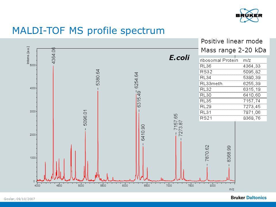 Goslar, 09/10/2007 E.coli MALDI-TOF MS profile spectrum Positive linear mode Mass range 2-20 kDa