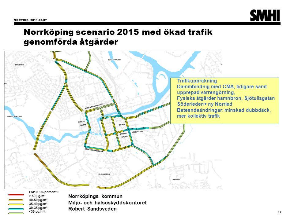 NORTRIP- 2011-03-07 17 Norrköping scenario 2015 med ökad trafik genomförda åtgärder PM10 90-percentil > 50 µg/m 3 40-50 µg/m 3 35-40 µg/m 3 30-35 µg/m