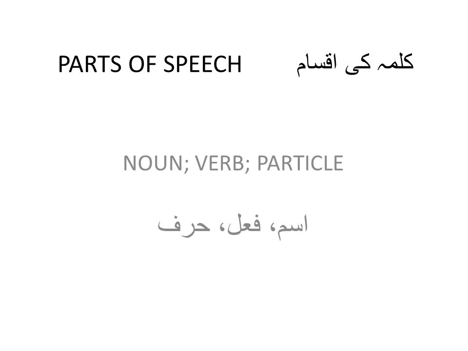 PARTS OF SPEECH کلمہ کی اقسام NOUN; VERB; PARTICLE اسم، فعل، حرف