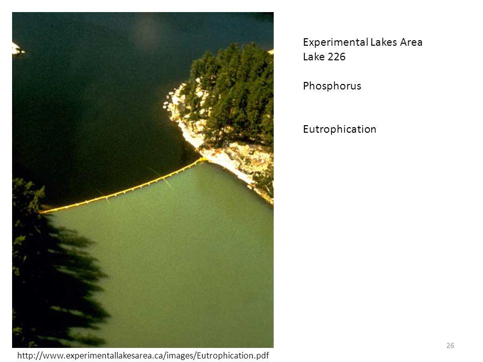 26 Experimental Lakes Area Lake 226 Phosphorus Eutrophication http://www.experimentallakesarea.ca/images/Eutrophication.pdf