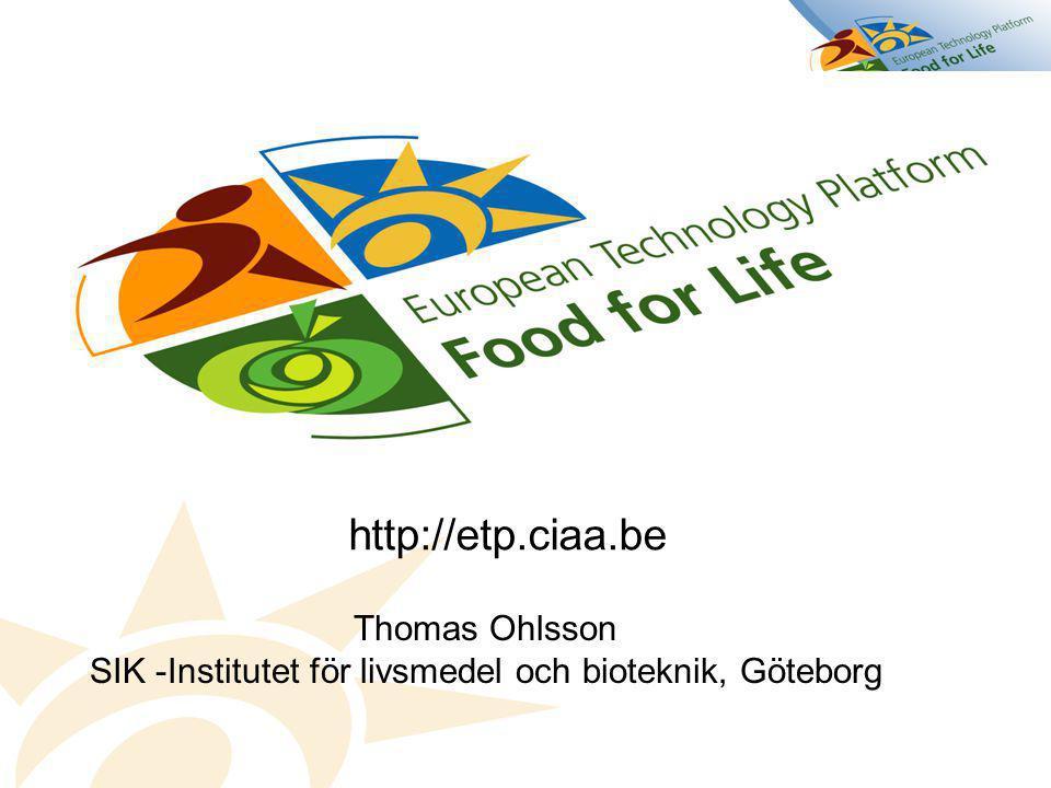 http://etp.ciaa.be Thomas Ohlsson SIK -Institutet för livsmedel och bioteknik, Göteborg