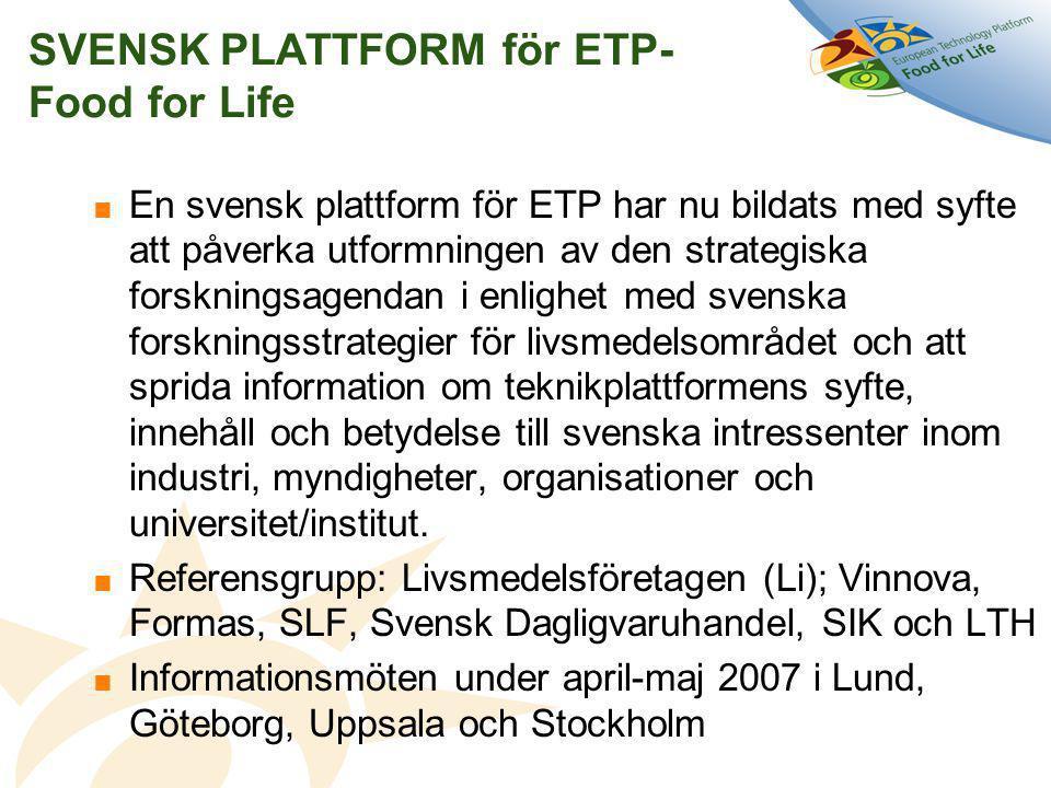 SVENSK PLATTFORM för ETP- Food for Life  En svensk plattform för ETP har nu bildats med syfte att påverka utformningen av den strategiska forskningsagendan i enlighet med svenska forskningsstrategier för livsmedelsområdet och att sprida information om teknikplattformens syfte, innehåll och betydelse till svenska intressenter inom industri, myndigheter, organisationer och universitet/institut.
