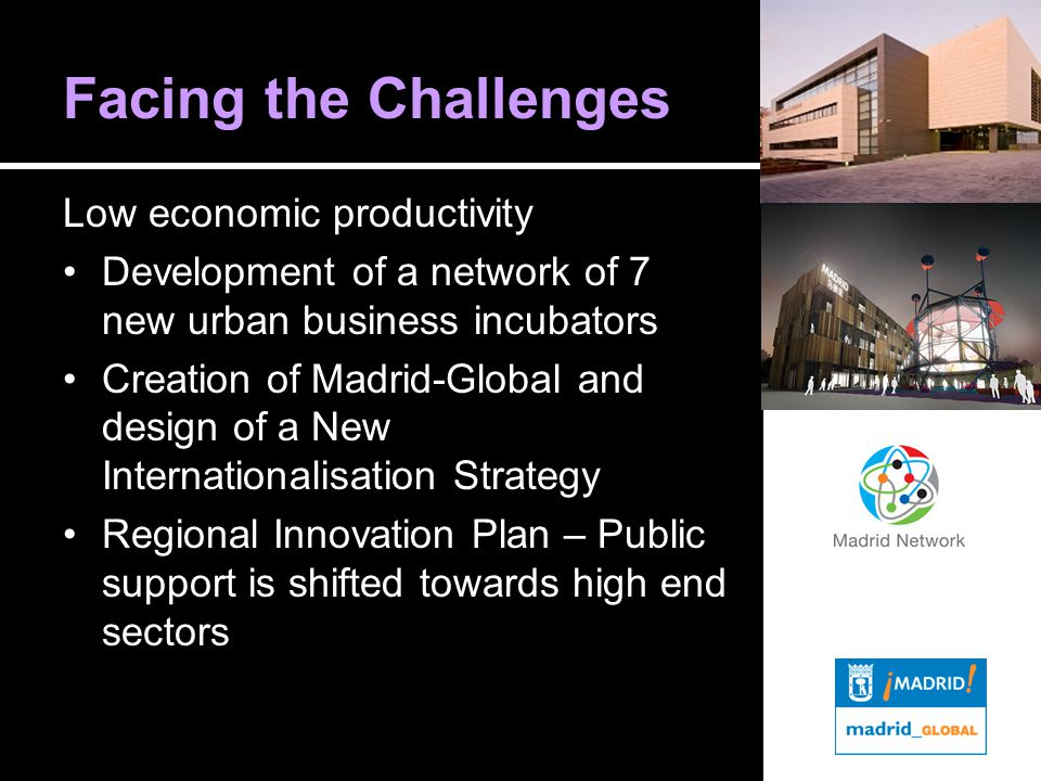 Facing the Challenges Low economic productivity Development of a network of 7 new urban business incubators Creation of Madrid-Global and design of a New Internationalisation Strategy Regional Innovation Plan – Public support is shifted towards high end sectors