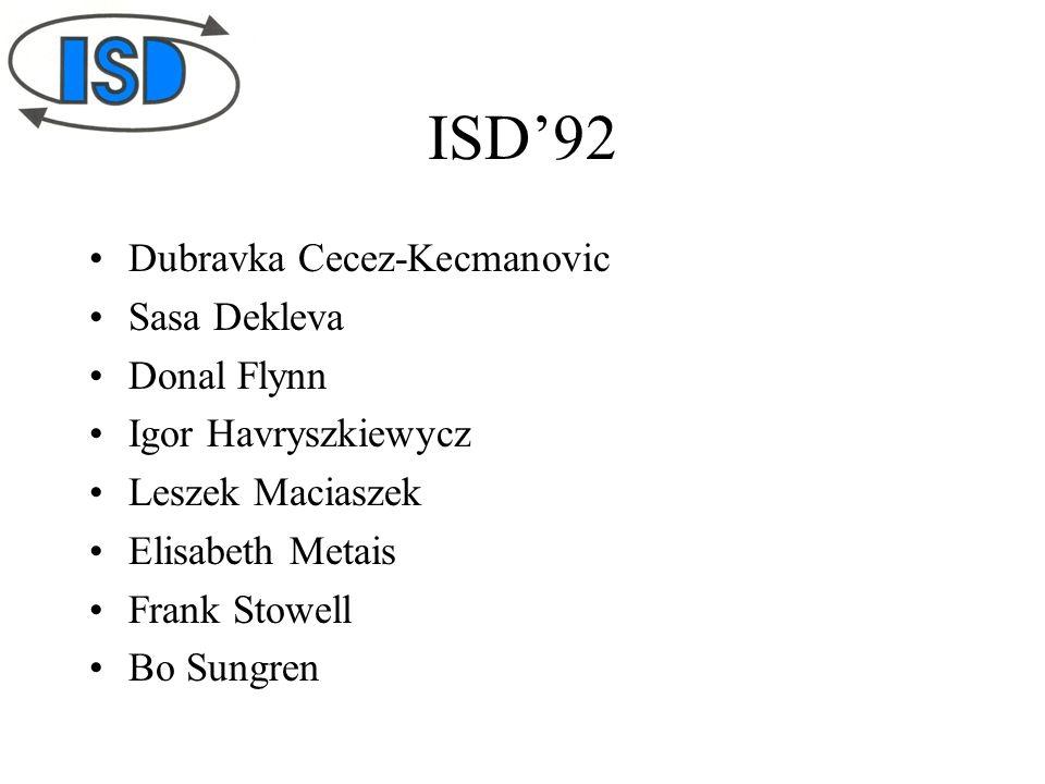 ISD'92 Dubravka Cecez-Kecmanovic Sasa Dekleva Donal Flynn Igor Havryszkiewycz Leszek Maciaszek Elisabeth Metais Frank Stowell Bo Sungren