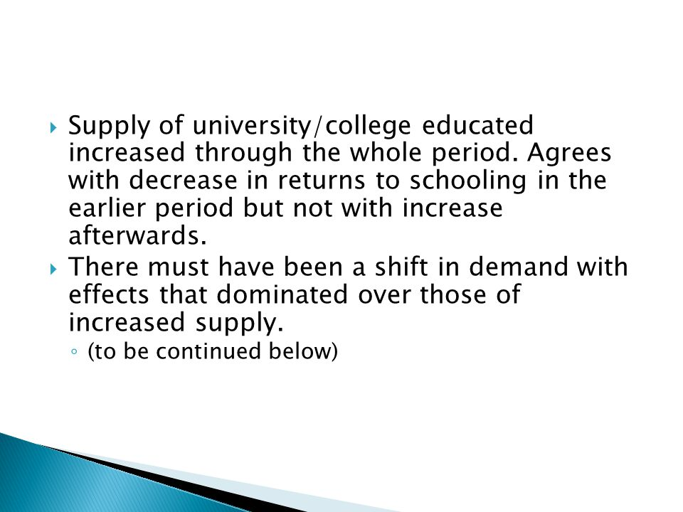  Supply of university/college educated increased through the whole period.