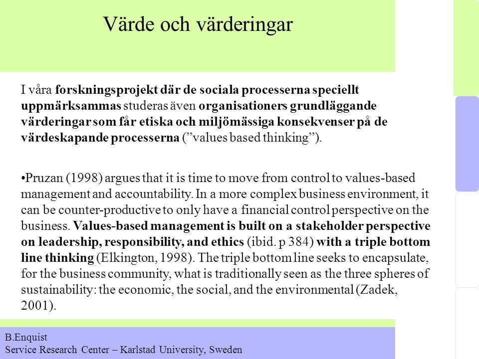 Värde och värderingar I våra forskningsprojekt där de sociala processerna speciellt uppmärksammas studeras även organisationers grundläggande värderingar som får etiska och miljömässiga konsekvenser på de värdeskapande processerna ( values based thinking ).