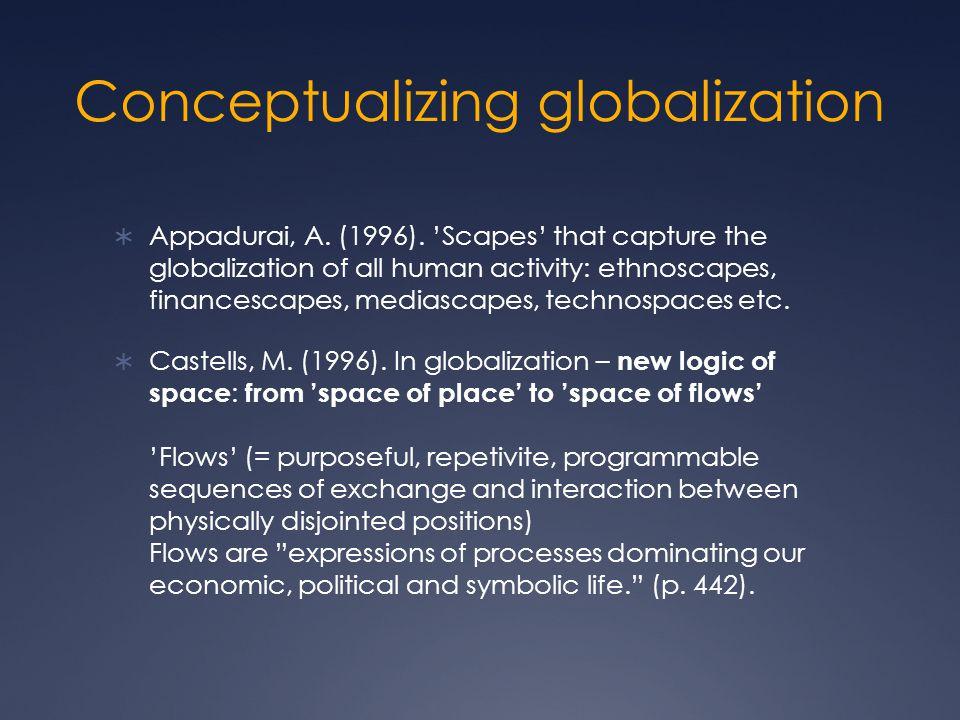Conceptualizing globalization  Appadurai, A. (1996).