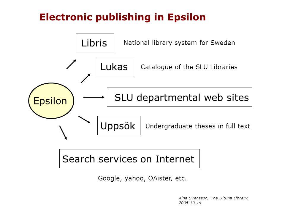 Aina Svensson, The Ultuna Library, 2005-10-14 Epsilon Libris Lukas SLU departmental web sites Uppsök Search services on Internet Electronic publishing