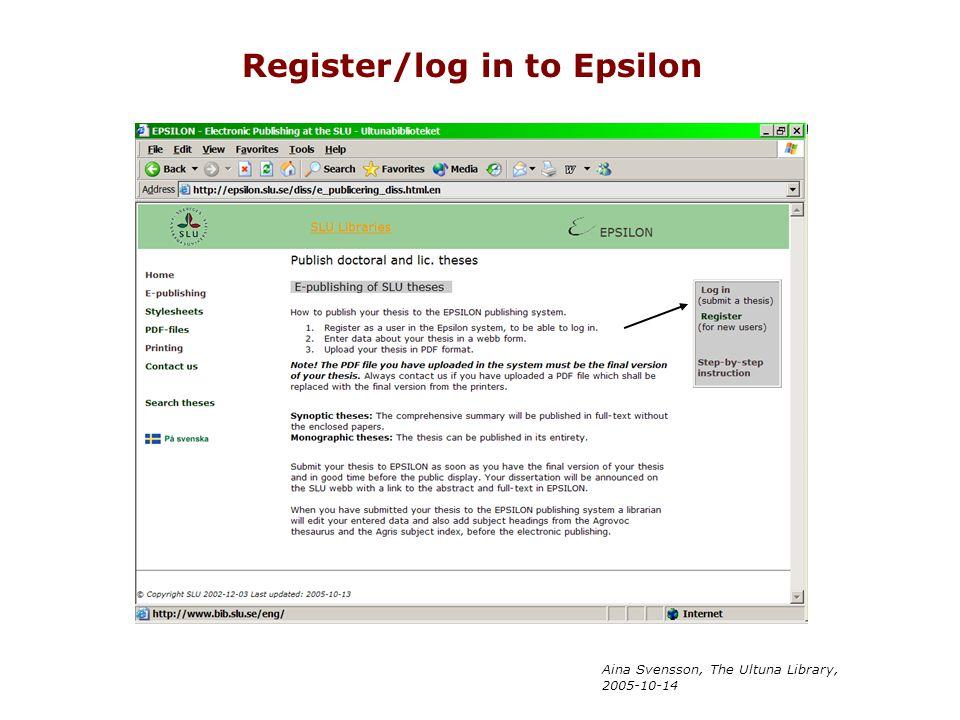 Aina Svensson, The Ultuna Library, 2005-10-14 Register/log in to Epsilon