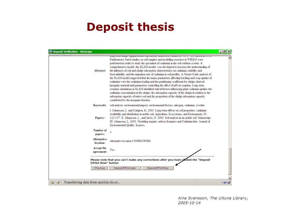 Aina Svensson, The Ultuna Library, 2005-10-14 Deposit thesis
