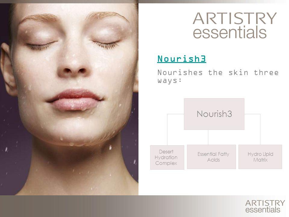 Nourishes the skin three ways: Hydro Lipid Matrix Nourish3 Desert Hydration Complex Essential Fatty Acids