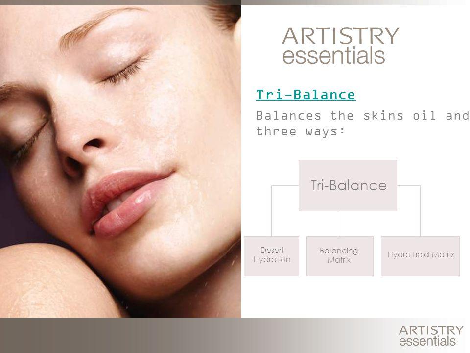 Tri-Balance Balances the skins oil and water three ways: Hydro Lipid Matrix Tri-Balance Balancing Matrix Desert Hydration