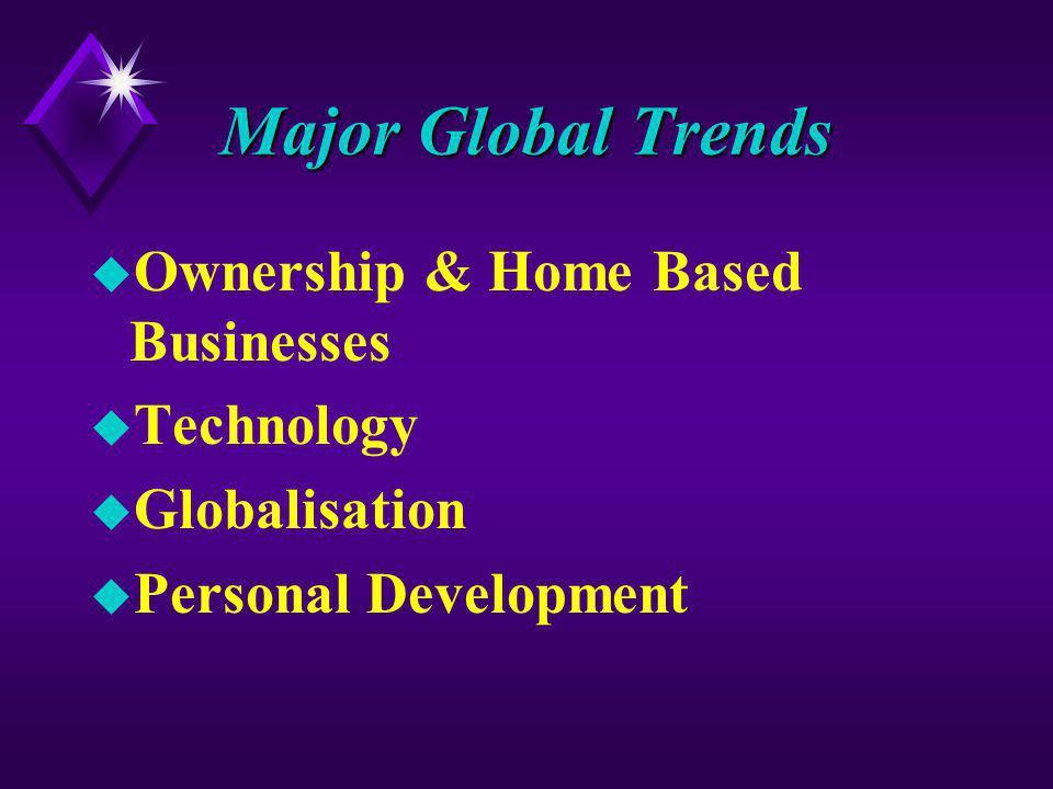 Major Global Trends u Ownership & Home Based Businesses u Technology u Globalisation u Personal Development
