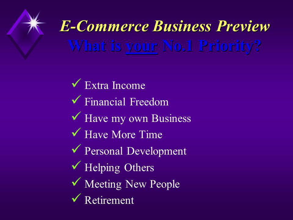 E-Commerce Business Preview What is your No.1 Priority.