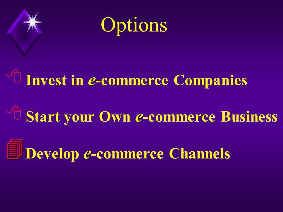 Options e Start your Own e -commerce Business  e Develop e -commerce Channels  e Invest in e -commerce Companies