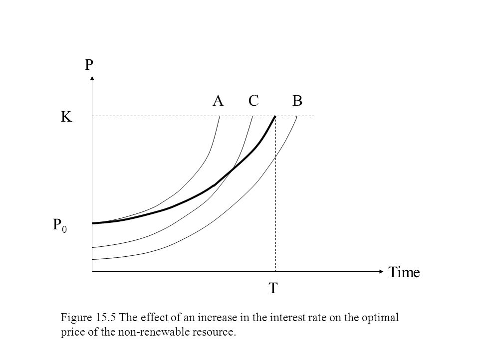 K P Time T CAB P0P0 Figure 15.5 The effect of an increase in the interest rate on the optimal price of the non-renewable resource.