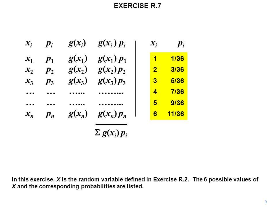 x i p i g(x i ) g(x i ) p i x i p i x 1 p 1 g(x 1 )g(x 1 ) p 1 11/36 x 2 p 2 g(x 2 ) g(x 2 ) p 2 23/36 x 3 p 3 g(x 3 ) g(x 3 ) p 3 35/36 ………...……...