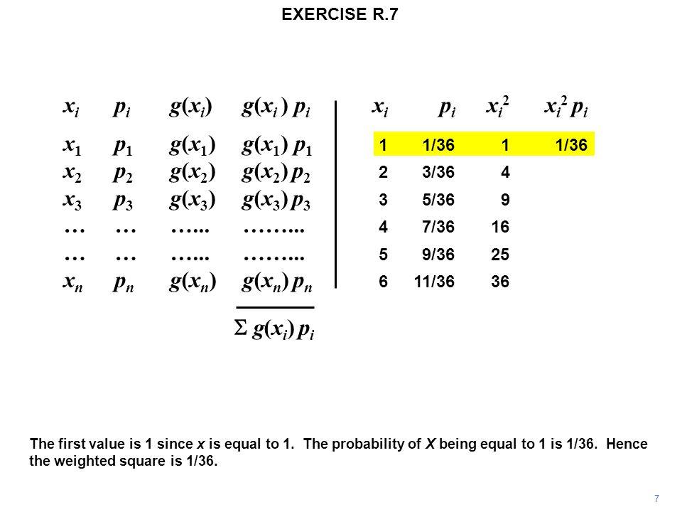 x i p i g(x i ) g(x i ) p i x i p i x i 2 x i 2 p i x 1 p 1 g(x 1 )g(x 1 ) p 1 11/3611/36 x 2 p 2 g(x 2 ) g(x 2 ) p 2 23/364 x 3 p 3 g(x 3 ) g(x 3 ) p 3 35/369 ………...……...