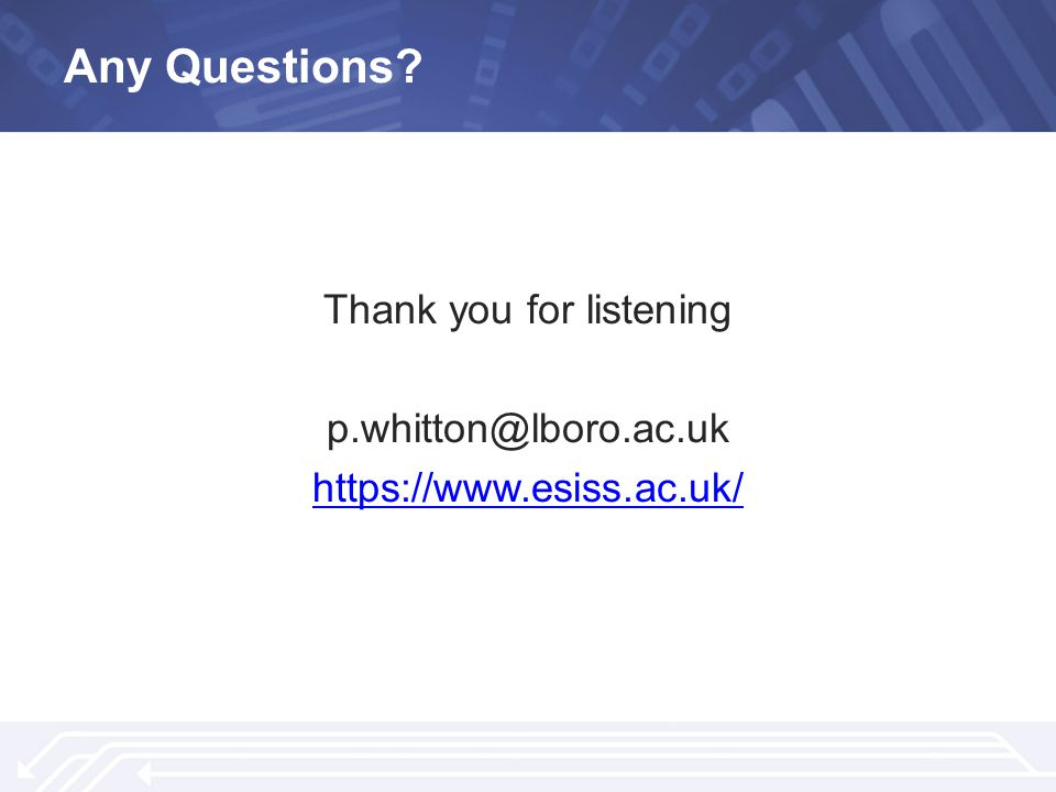 Any Questions? Thank you for listening p.whitton@lboro.ac.uk https://www.esiss.ac.uk/