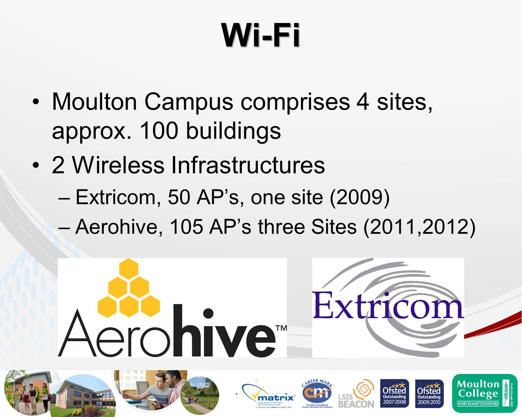 Wi-Fi Moulton Campus comprises 4 sites, approx.