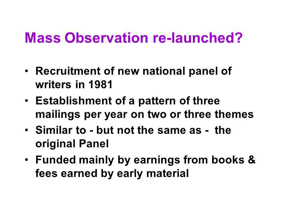 Mass Observation re-launched.