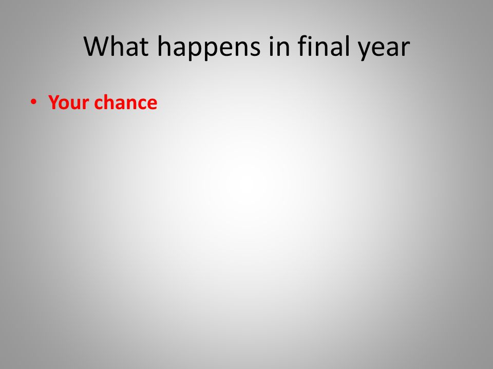 What happens in final year Your chance