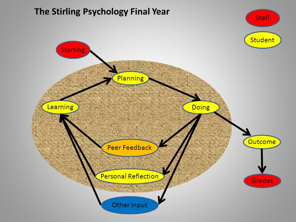 LearningDoingPlanning StartingStaff Student The Stirling Psychology Final Year Outcome Other Input Personal Reflection Peer Feedback Grades