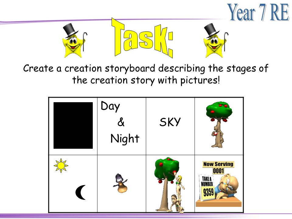 Create a creation storyboard describing the stages of the creation story with pictures! Day & Night SKY