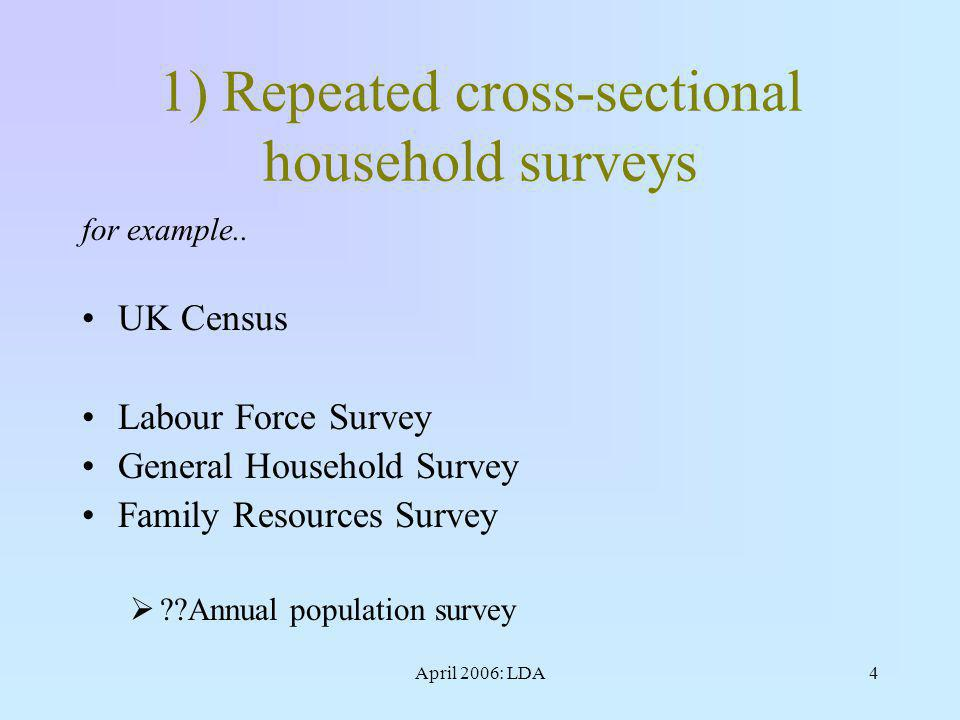 April 2006: LDA4 1) Repeated cross-sectional household surveys for example..