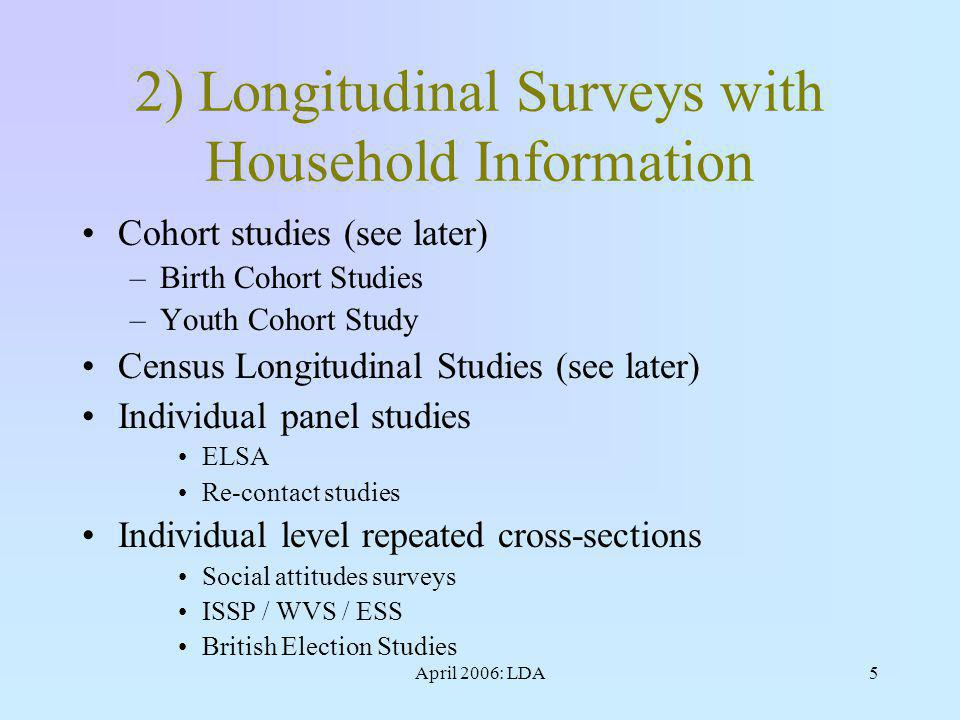 April 2006: LDA5 2) Longitudinal Surveys with Household Information Cohort studies (see later) –Birth Cohort Studies –Youth Cohort Study Census Longitudinal Studies (see later) Individual panel studies ELSA Re-contact studies Individual level repeated cross-sections Social attitudes surveys ISSP / WVS / ESS British Election Studies