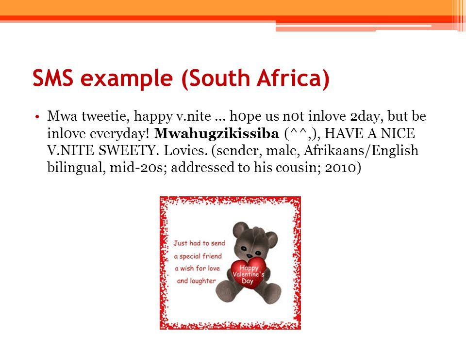 Creating personae – guys and gals (+female/soft): pwincess, ntombazana, dear, love, swty/swti/swts, hun/hunny, gal/gurl, sis, ntwana, nana, sana, ntombi, babe (+male/tough): mtase, chomi/tshomi, bra, guy, kwedin, buddy, mchana, mate (+female/tough): biatch/bitch, whore (neutral): friend/vriendin/fwnd