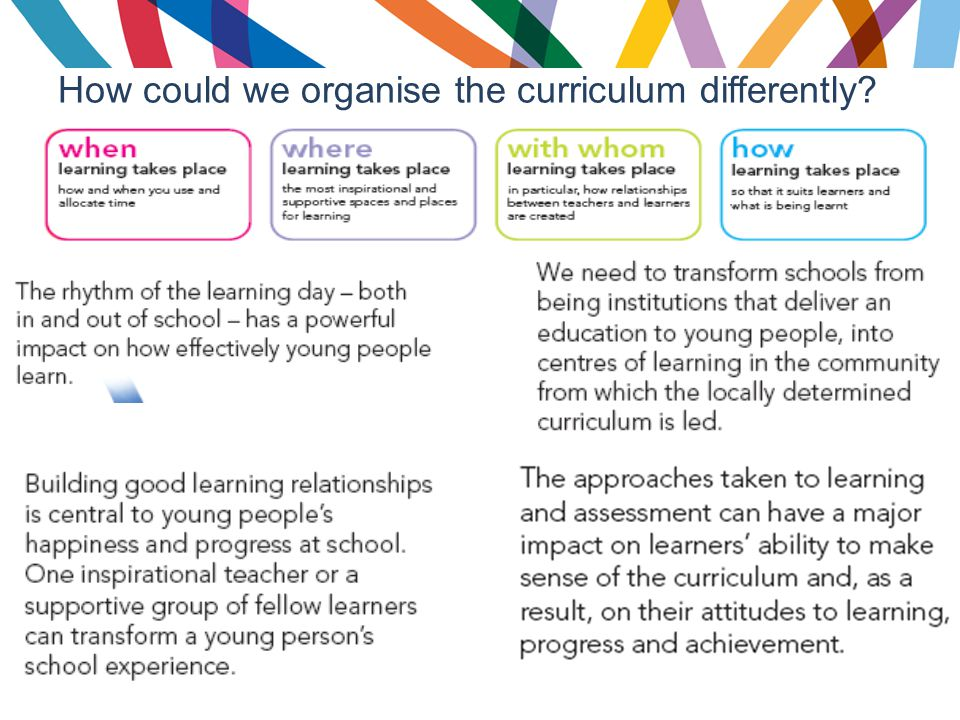 How could we organise the curriculum differently