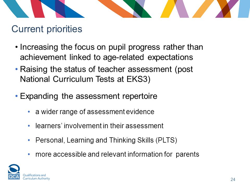 Current priorities Increasing the focus on pupil progress rather than achievement linked to age-related expectations Raising the status of teacher assessment (post National Curriculum Tests at EKS3) Expanding the assessment repertoire a wider range of assessment evidence learners' involvement in their assessment Personal, Learning and Thinking Skills (PLTS) more accessible and relevant information for parents 24