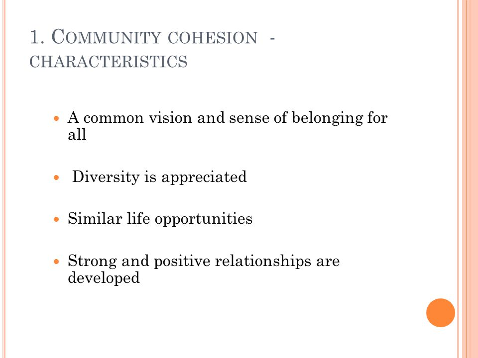 1. C OMMUNITY COHESION - CHARACTERISTICS A common vision and sense of belonging for all Diversity is appreciated Similar life opportunities Strong and