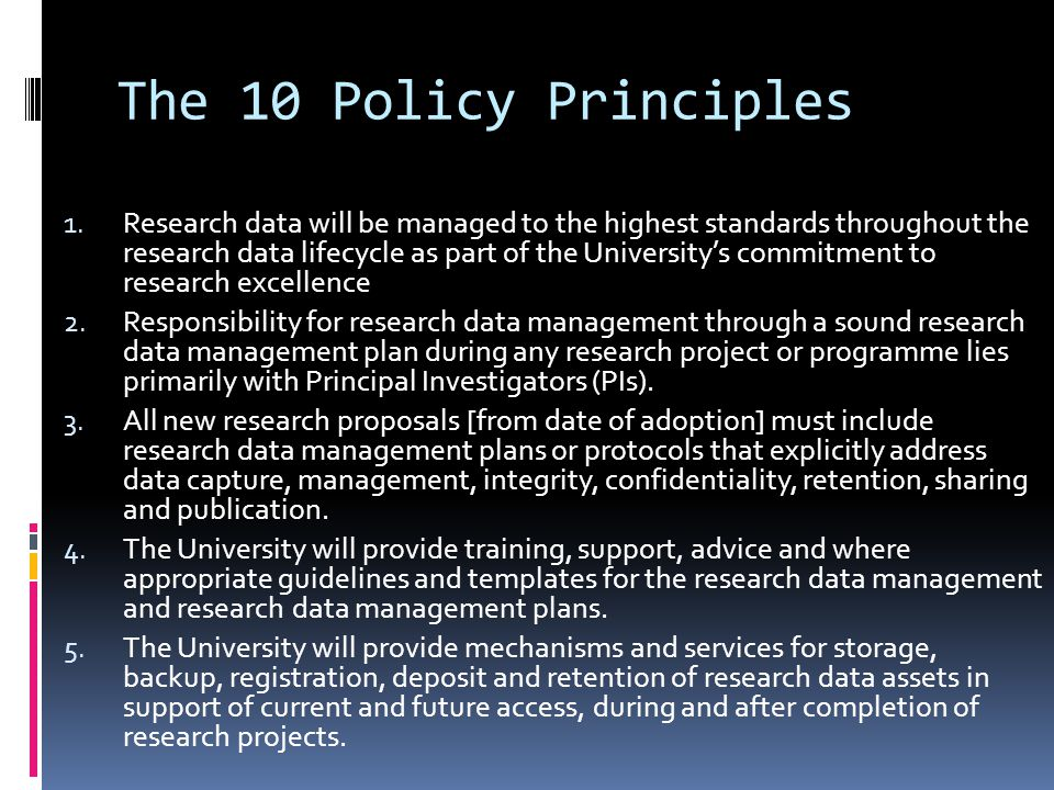 The 10 Policy Principles 1.