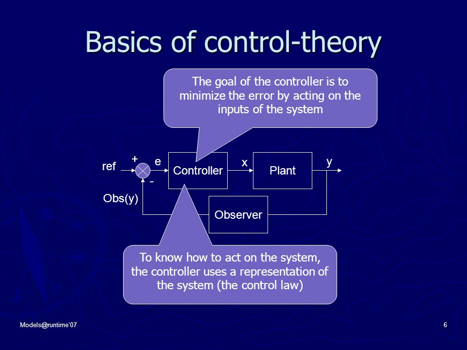 Models@runtime'076 Basics of control-theory ControllerPlant + - ref Observer e x y Obs(y) The goal of the controller is to minimize the error by acting on the inputs of the system To know how to act on the system, the controller uses a representation of the system (the control law)