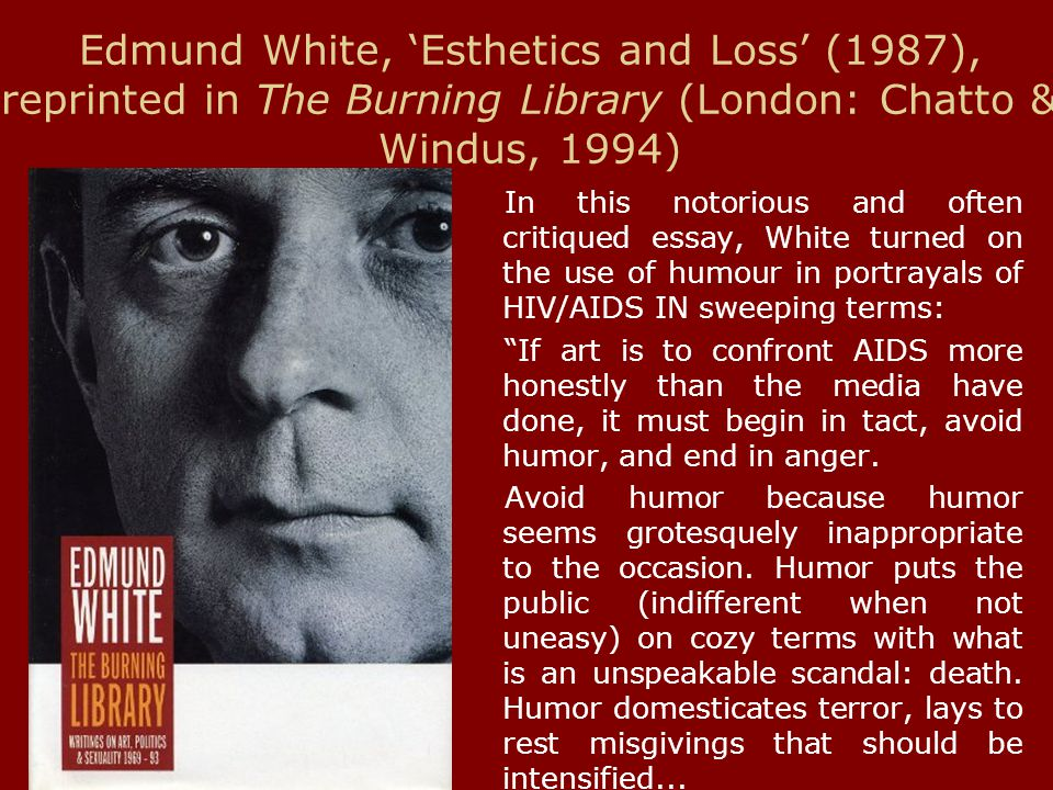 Edmund White, 'Esthetics and Loss' (1987), reprinted in The Burning Library (London: Chatto & Windus, 1994) In this notorious and often critiqued essa