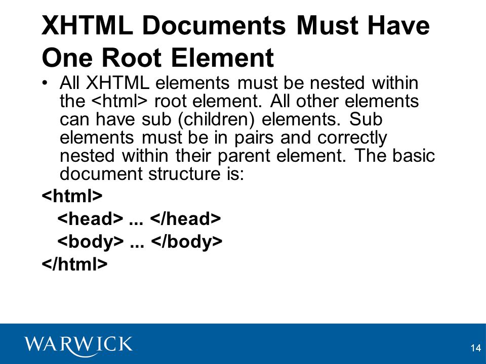 14 XHTML Documents Must Have One Root Element All XHTML elements must be nested within the root element.