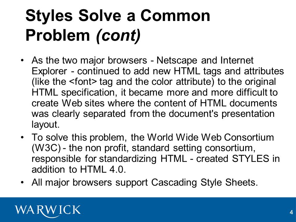 5 Multiple Styles Will Cascade Into One Style sheets allow style information to be specified in many ways.