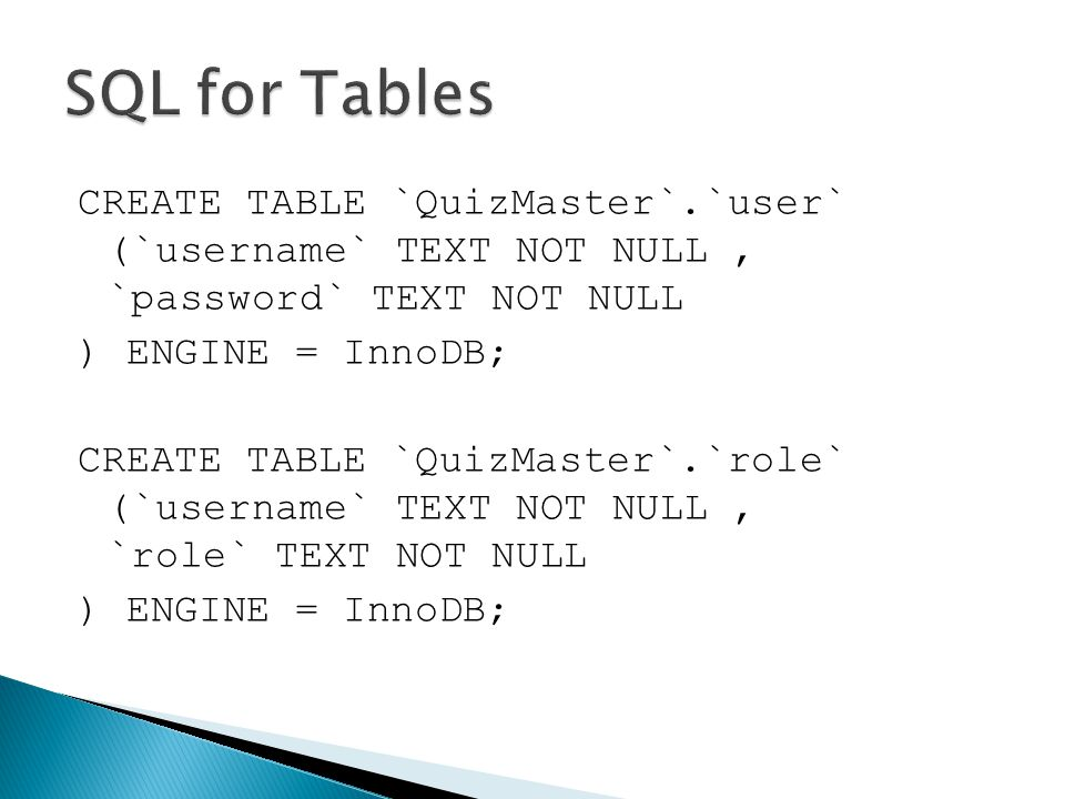 CREATE TABLE `QuizMaster`.`user` (`username` TEXT NOT NULL, `password` TEXT NOT NULL ) ENGINE = InnoDB; CREATE TABLE `QuizMaster`.`role` (`username` T