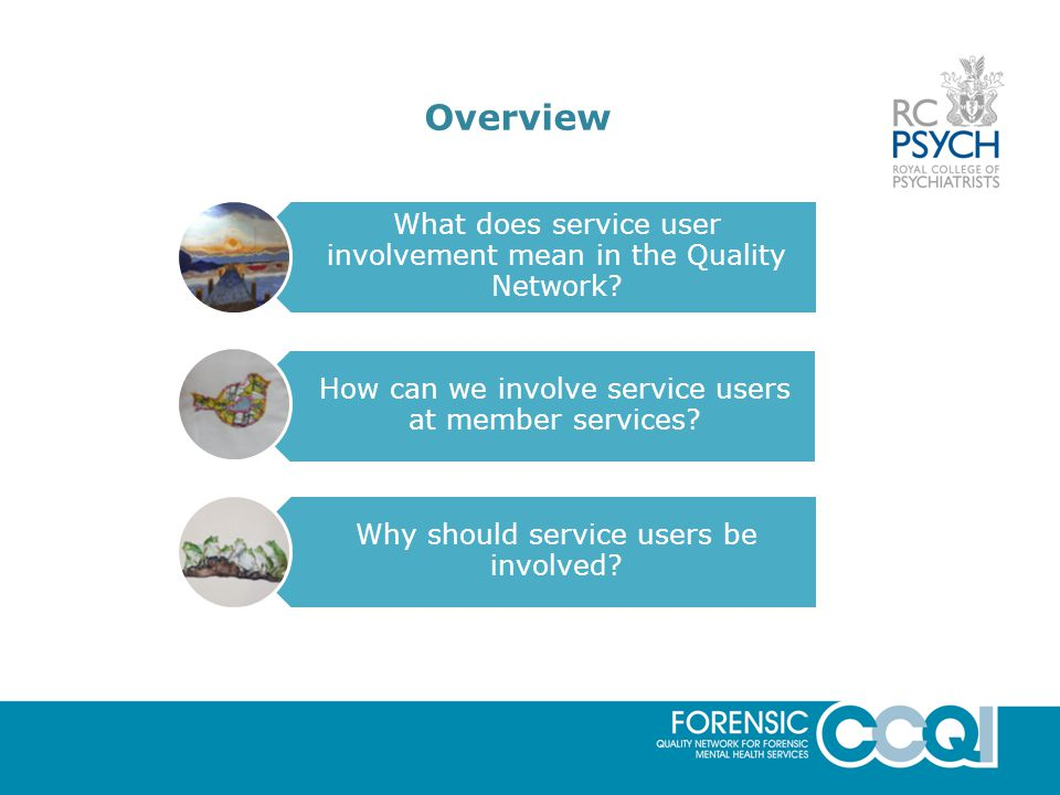 Overview What does service user involvement mean in the Quality Network.