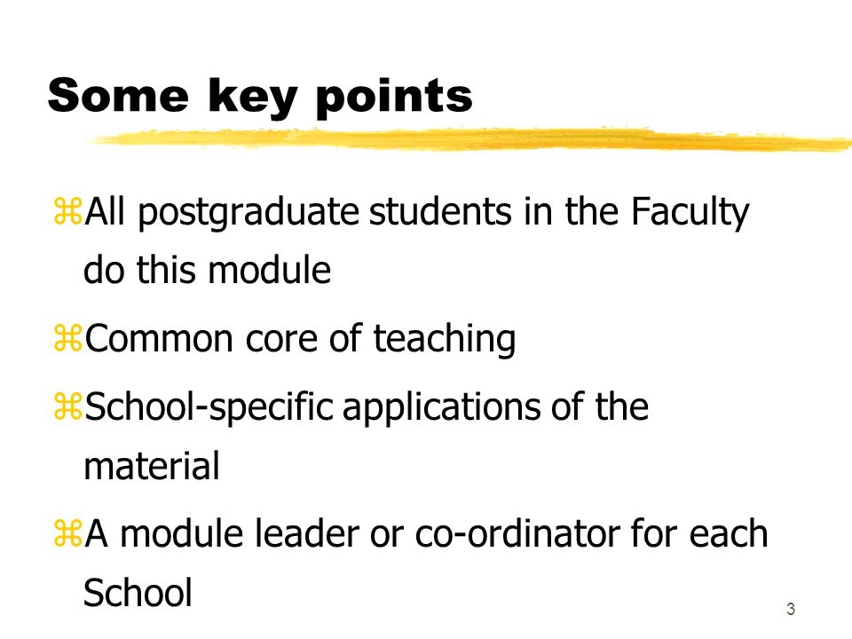 3 Some key points zAll postgraduate students in the Faculty do this module zCommon core of teaching zSchool-specific applications of the material zA module leader or co-ordinator for each School