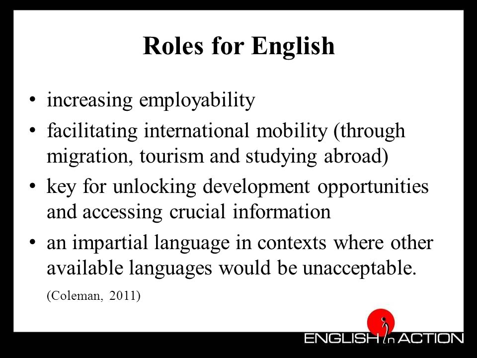 Benefits of using English Economic Social Communication Educational Access to technology Cultural