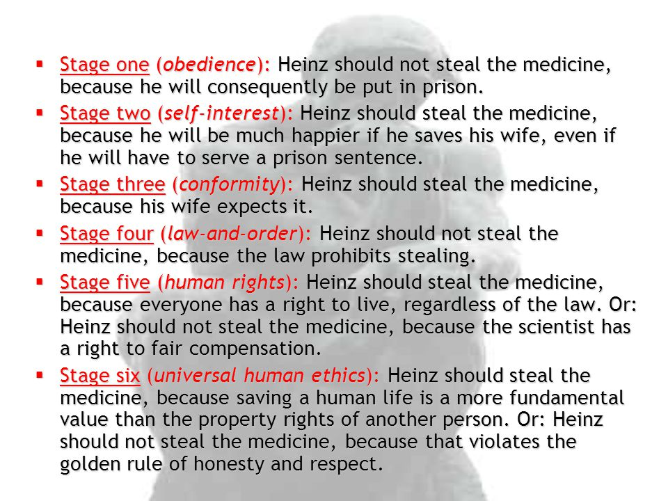  Stage one (obedience): Heinz should not steal the medicine, because he will consequently be put in prison.