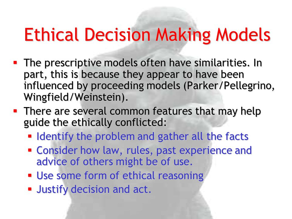 The prescriptive models often have similarities. In part, this is because they appear to have been influenced by proceeding models (Parker/Pellegrin