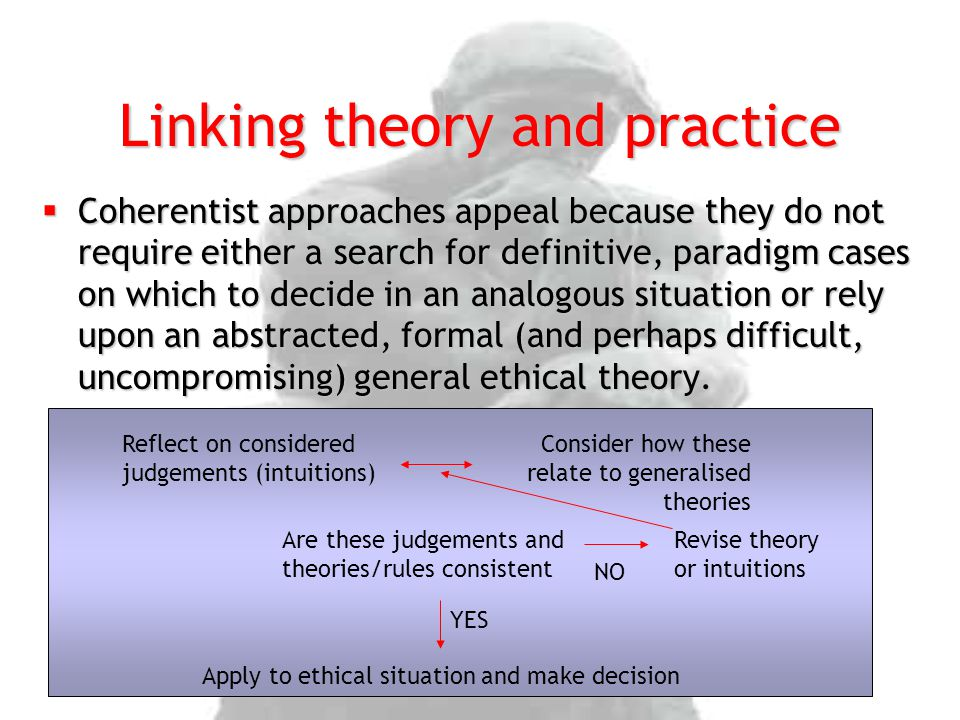 Linking theory and practice  Coherentist approaches appeal because they do not require either a search for definitive, paradigm cases on which to decide in an analogous situation or rely upon an abstracted, formal (and perhaps difficult, uncompromising) general ethical theory.